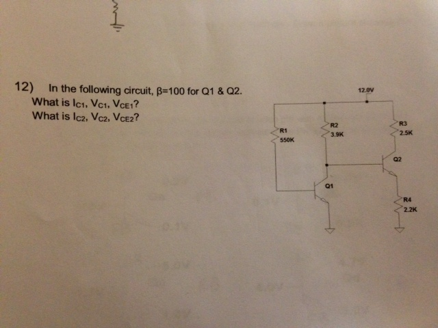 In the following circuit, beta = 100 for Q1 and Q2