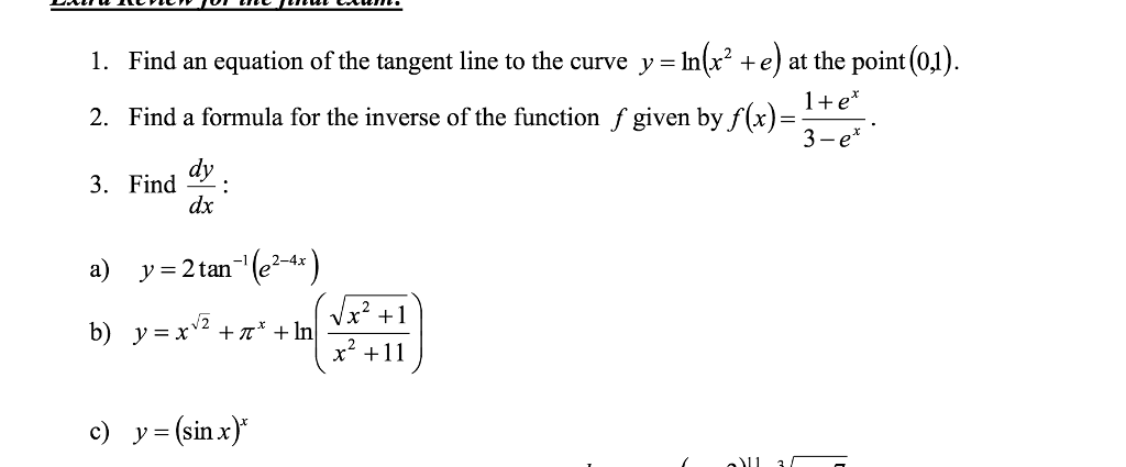 Find an equation of the tangent line to the curve chegg find an equation of the tangent line to the curve y lnx2 sciox Choice Image