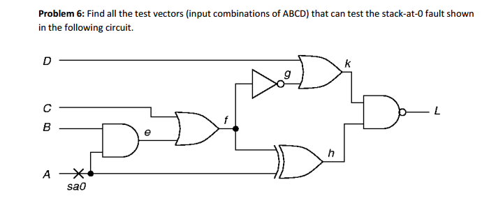 Problem 6: Find All The Test Vectors (input Combin... | Chegg.com