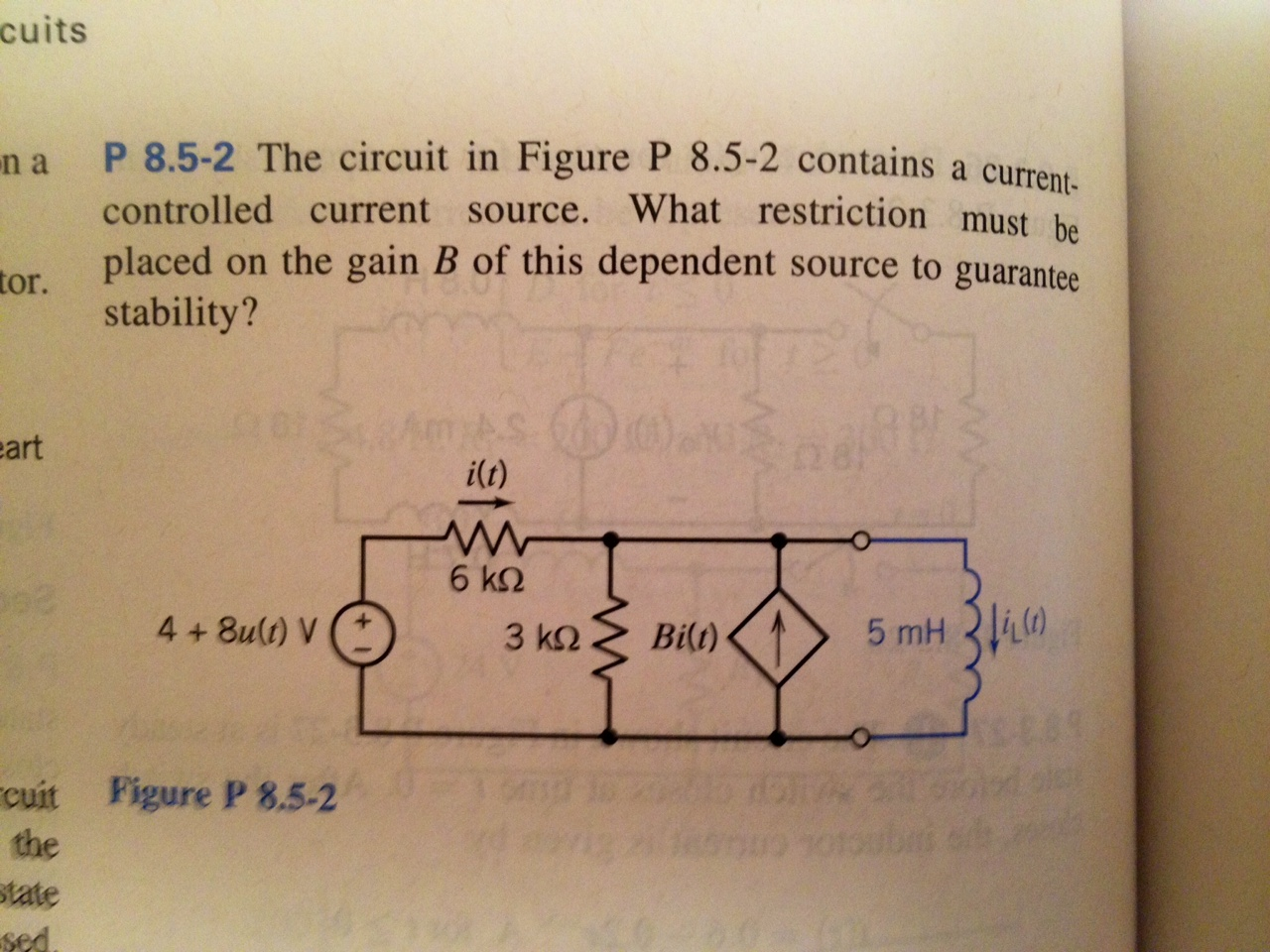 The circuit in Figure P 8.5-2 contains a current c