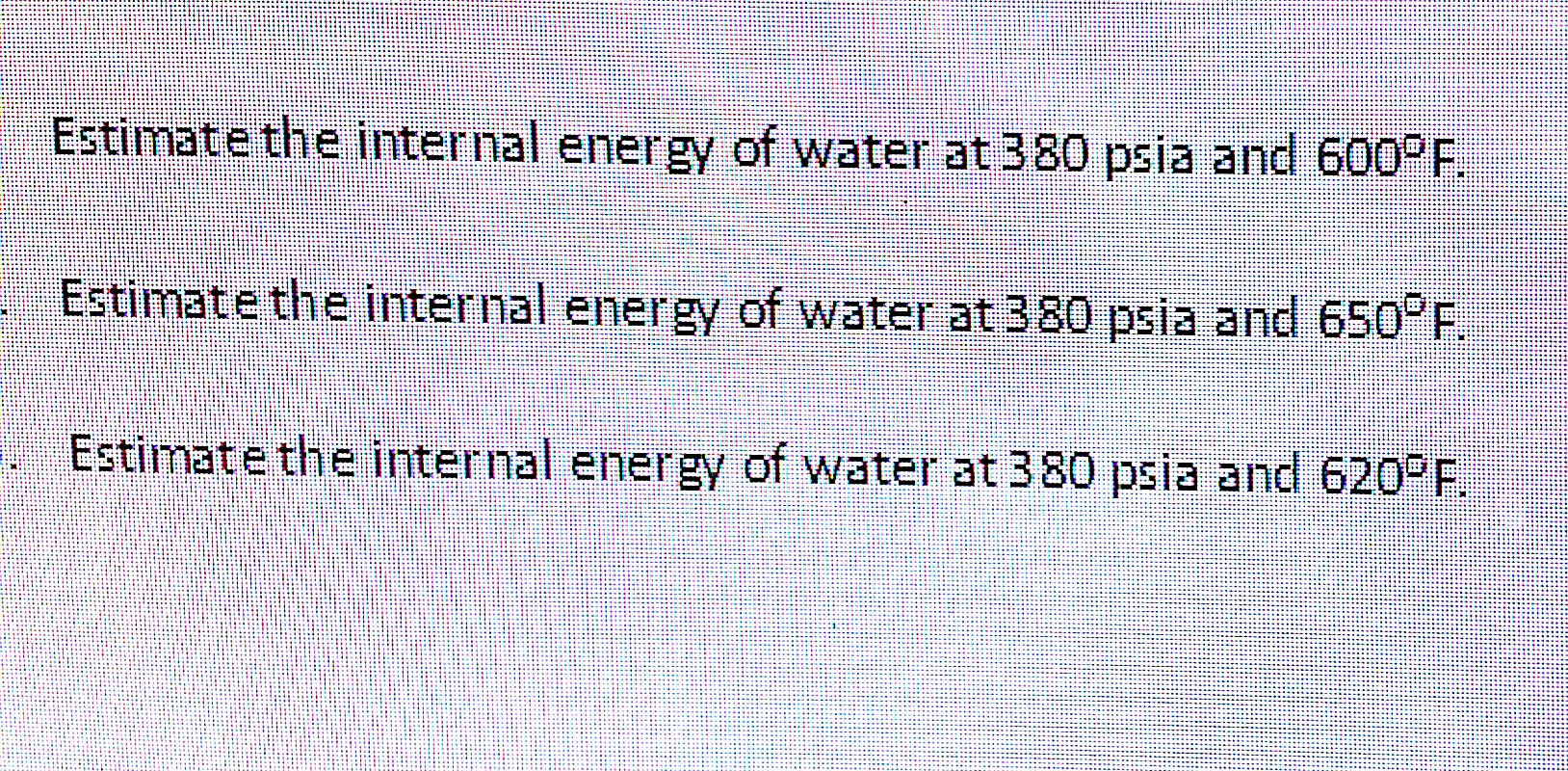Estimate the internal energy of water at 380 psia