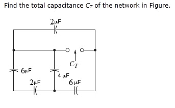 Find the total capacitance C T of the network in F