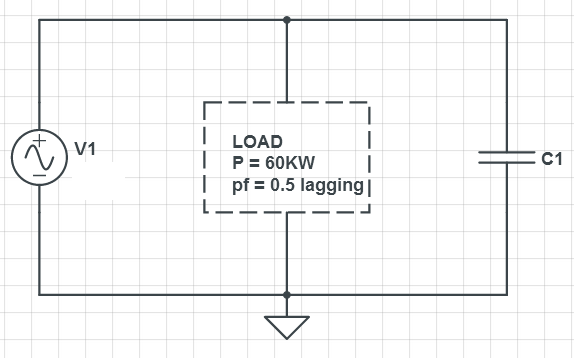 Find C to correct load power factor (pf) to pf = 0