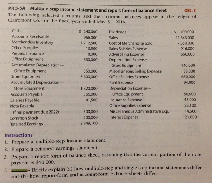 Multiplestep Income Statement And Report Form Of – Report Form Balance Sheet