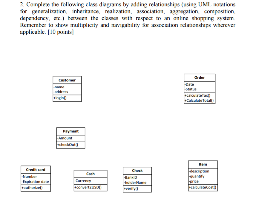 Complete the following class diagrams by adding re chegg complete the following class diagrams by adding relationships using uml notations for generalization ccuart Choice Image