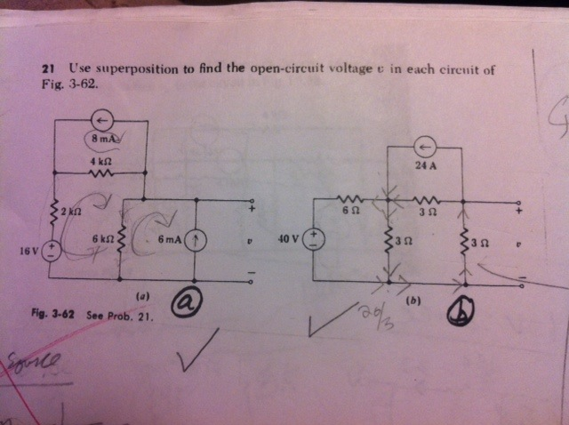 Use superposition to find the open-circuit voltage