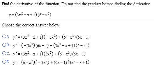 Find The Derivative Of The Function. Do Not Find T... | Chegg.com