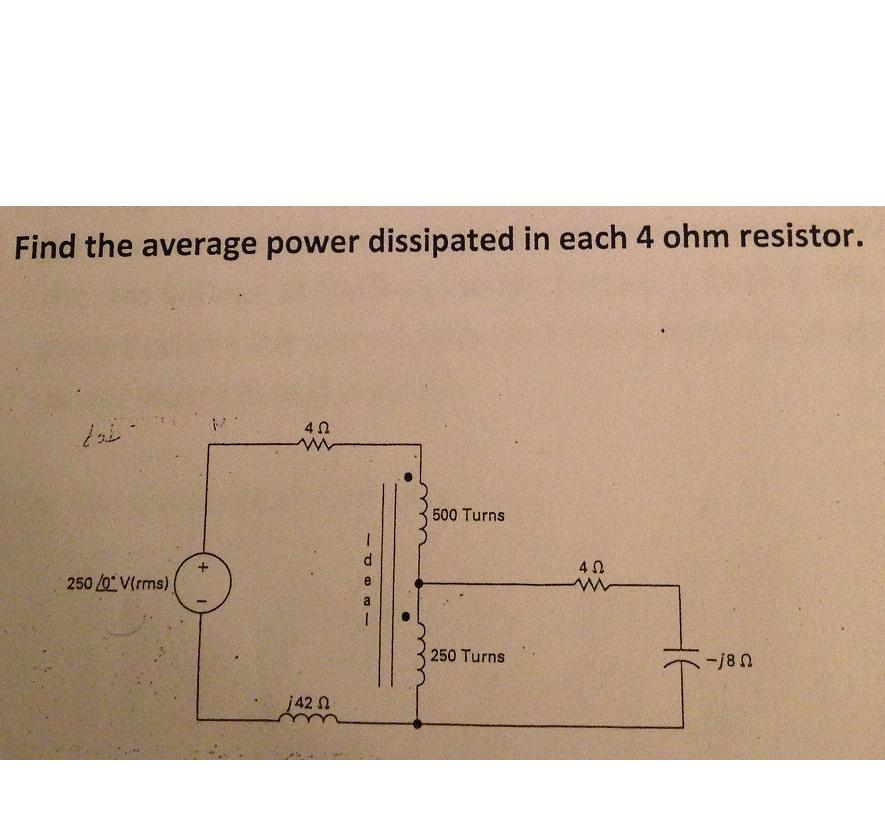 Find the average power dissipated in each 4 ohm re