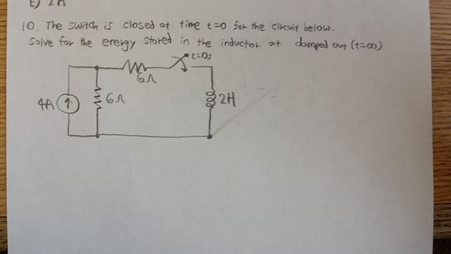 The switch is closed at time t = 0 for the circuit