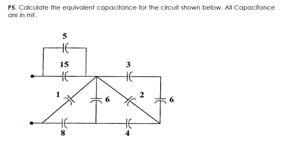 Calculate the equivalent capacitance for the circu
