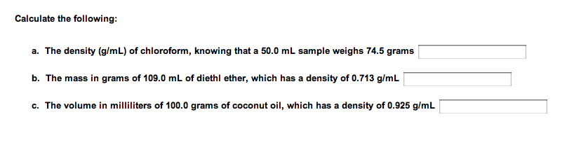 how to find density chemistry