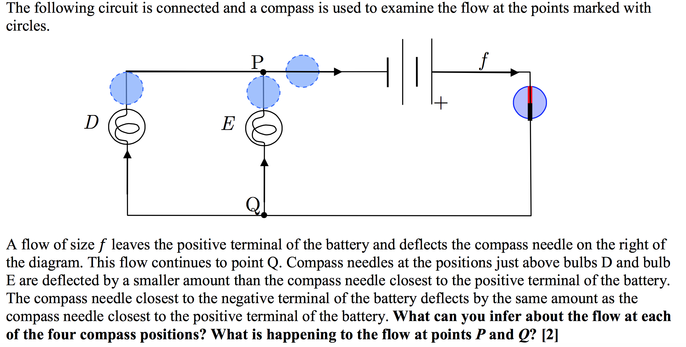 Solved what can you infer about the flow at each of the f the following circuit is connected and a compass is used to examine the flow at the pooptronica