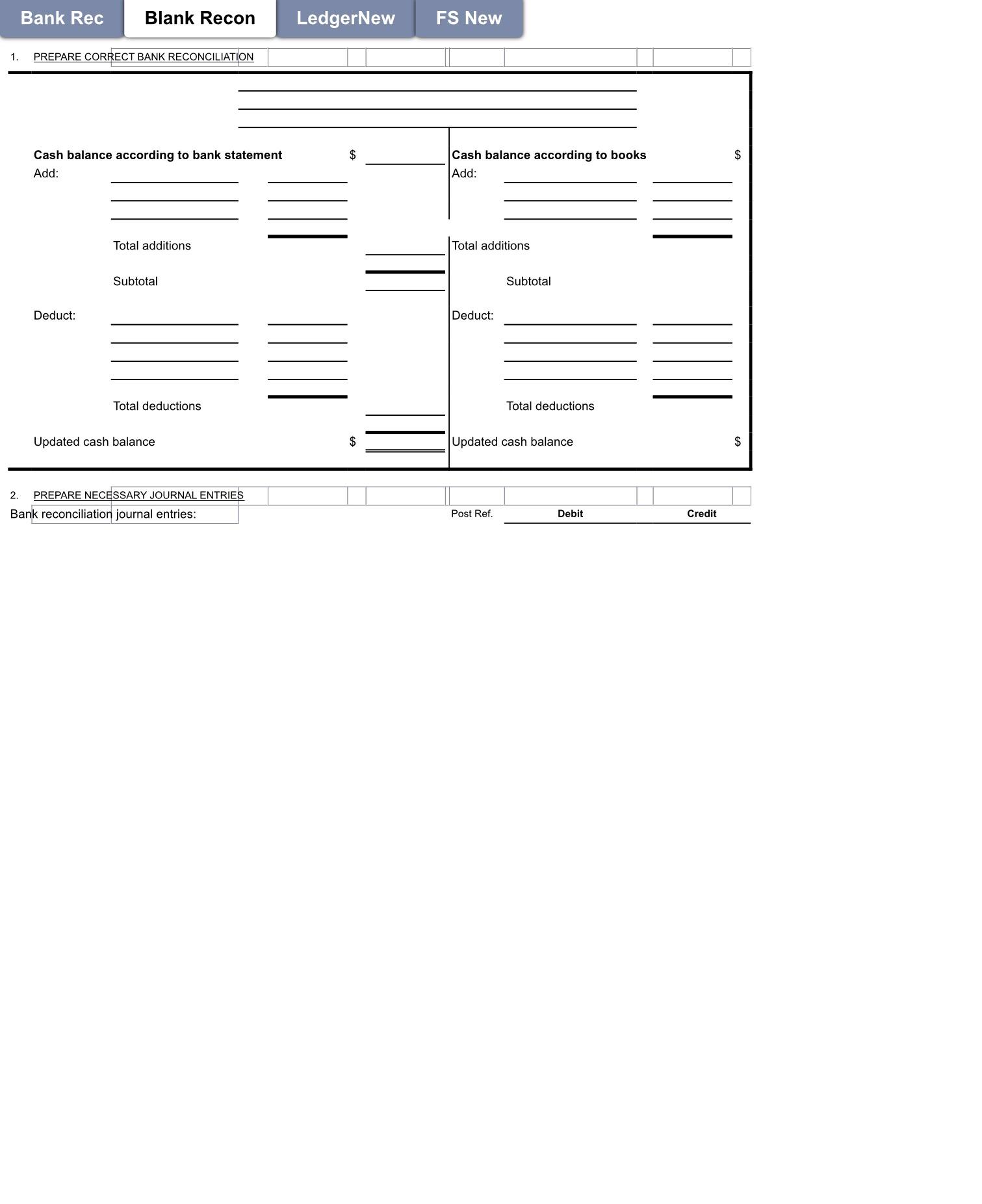 Bank Rec Blank Recon 1. PREPARE CORRECT BANK RECON  Blank Bank Reconciliation Form