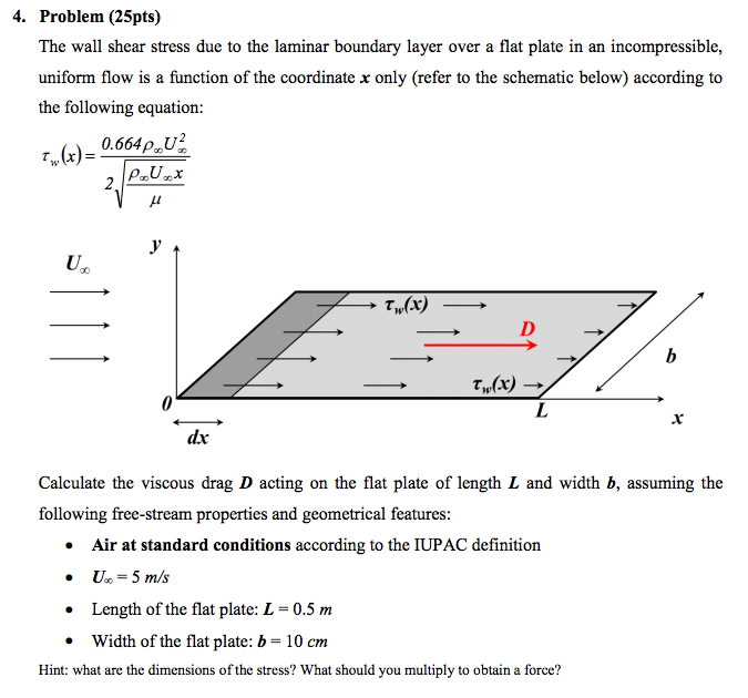Air Flow Force Equation: Solved: The Wall Shear Stress Due To The Laminar Boundary