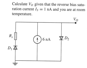 Calculate V0 given that the reverse bias saturatio