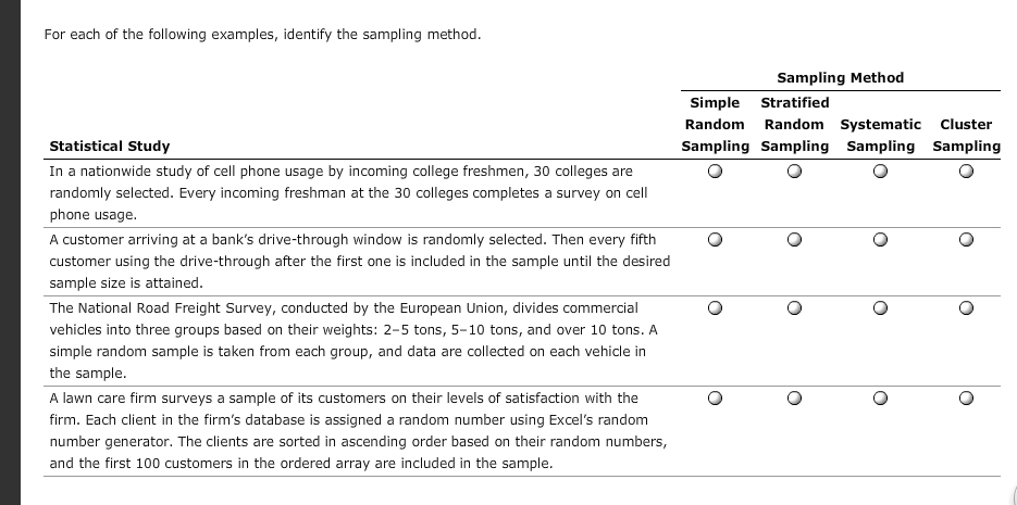 stratified random sampling example questions pdf
