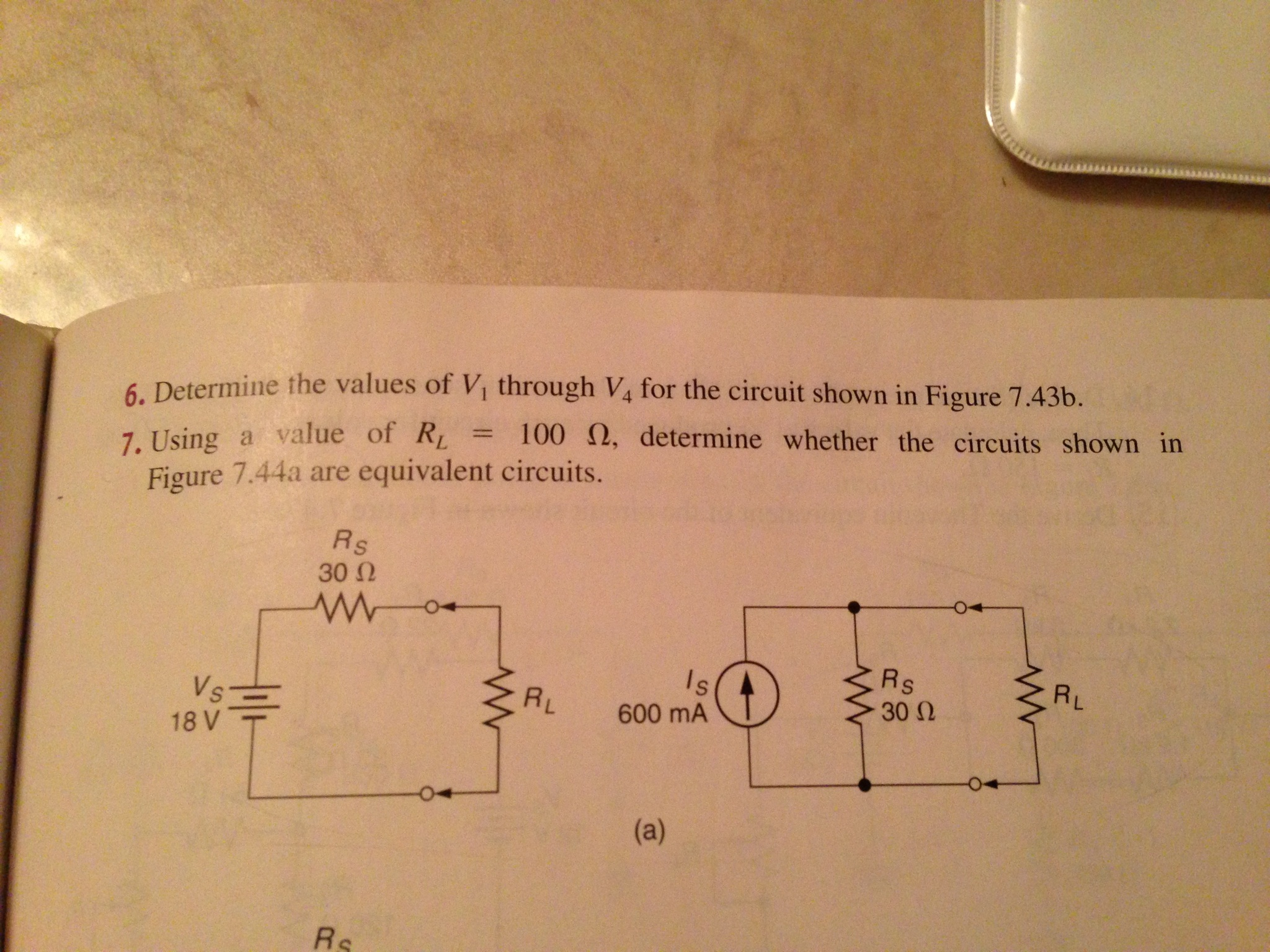 Determine ,he values of V, through V4 for the circ