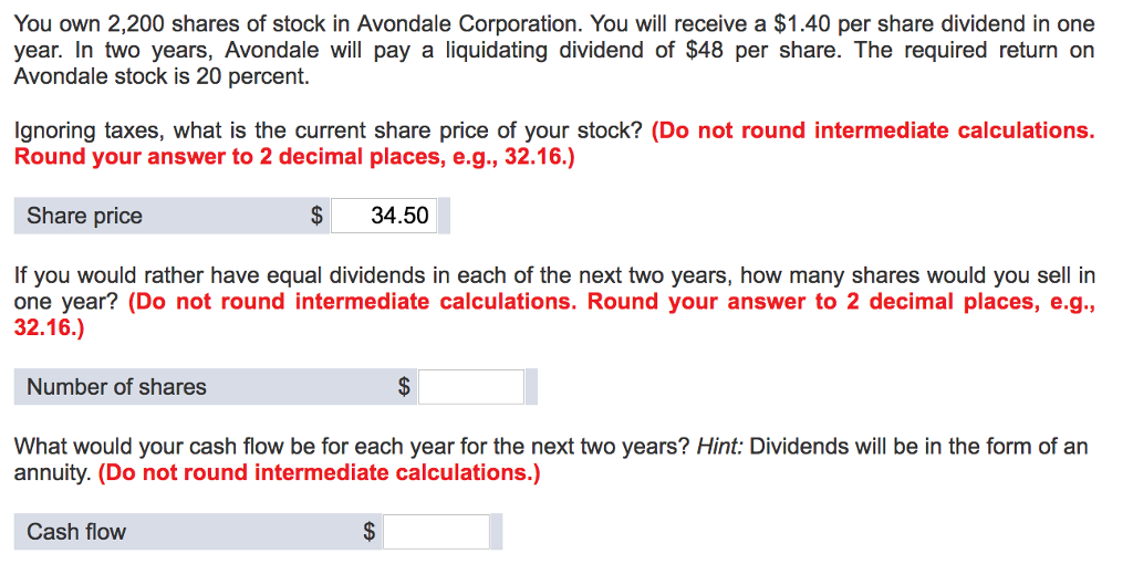 You Own 2, 200 Shares Of Stock In Avondale Corpora... | Chegg.com