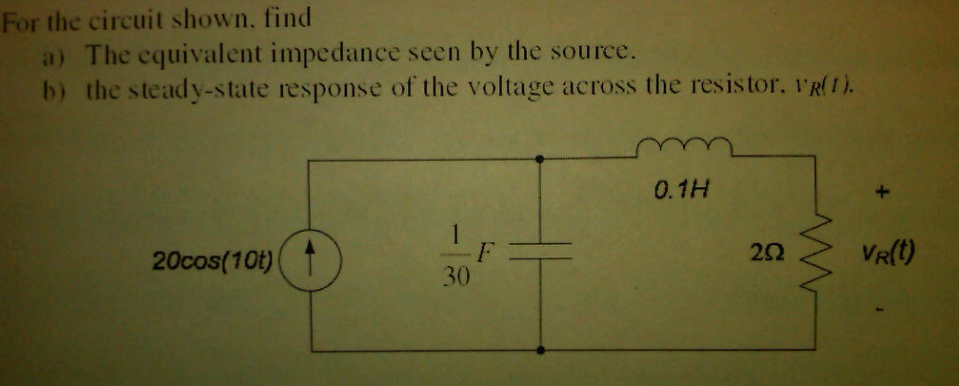 For the circuit shown, find The equivalent impeda