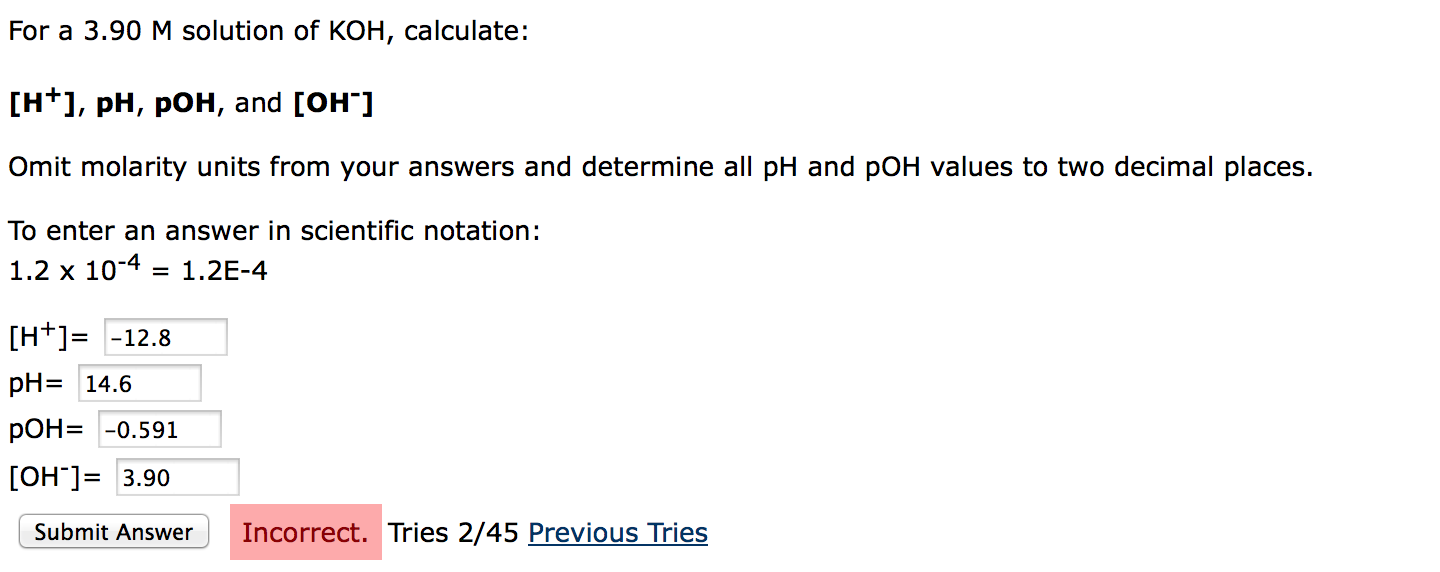 For A 3.90 M Solution Of KOH, Calculate: [H^+, PH,... | Chegg.com