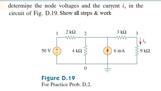 determine the node voltages and the current ix in