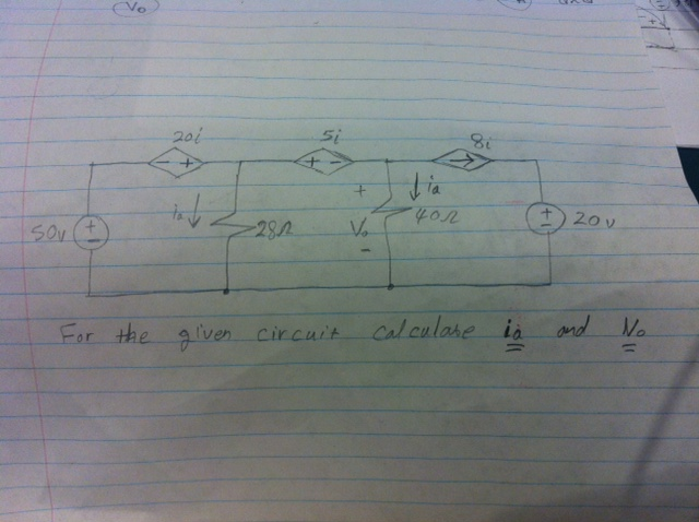 For the given circuit calculate ia and V0