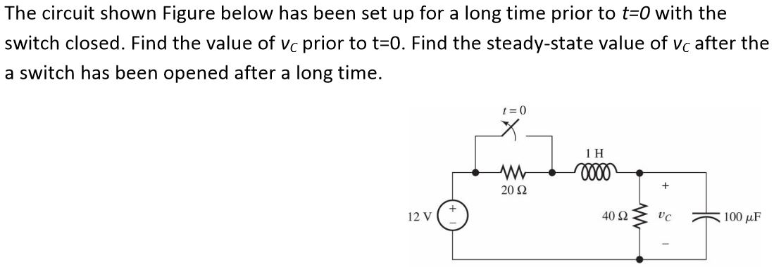 Find the steady - state value of v C after the a s