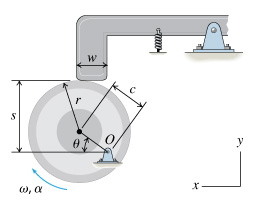 A circular cam is in contact with a rectangular li