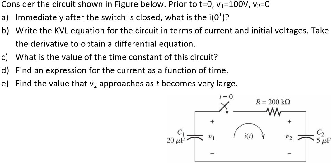 Consider the circuit shown in Figure below. Prior