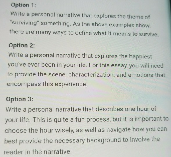 option write a personal narrative that explores com option 1 write a personal narrative that explores the theme of surviving something as