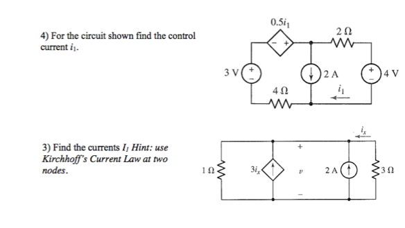 For the circuit shown find the control current i\F