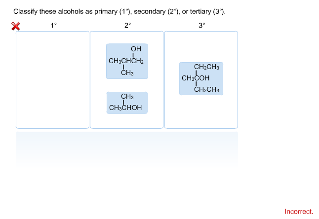 Classify these alcohols as primary (1 degree), sec