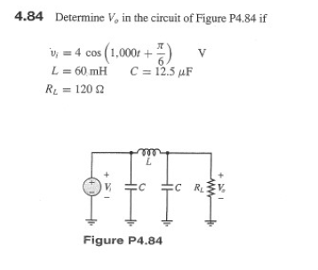 Determine Vo in the circuit of Figure P4.84 if Fi