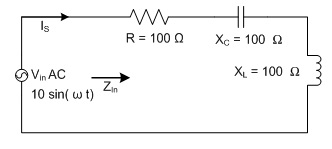 For the following series AC circuit, the phase ang