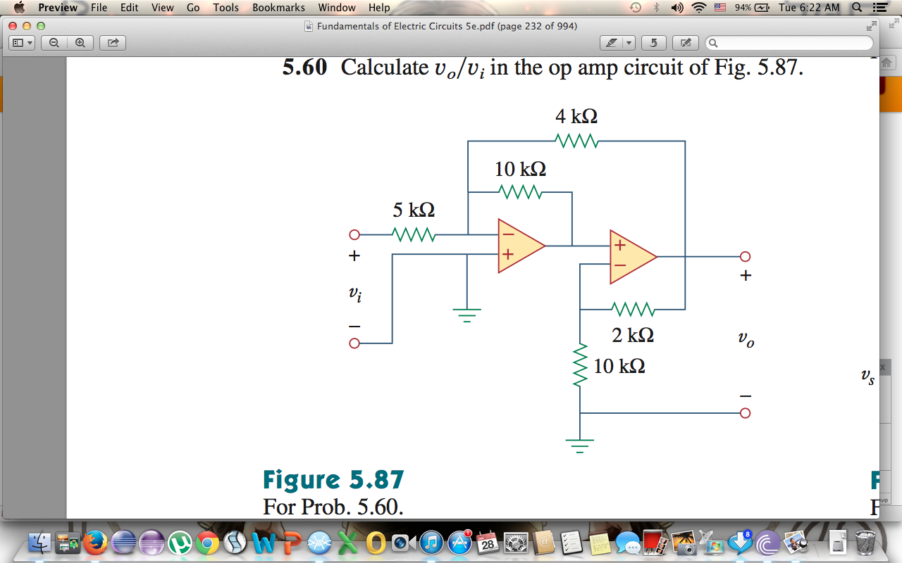 Calculate v0/vt in the op amp circuit of Fig. 5.87