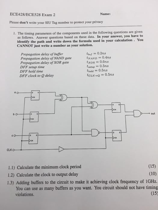 Solved the timing parameters of the components used in th question the timing parameters of the components used in the following questions are given as follows ans ccuart Gallery