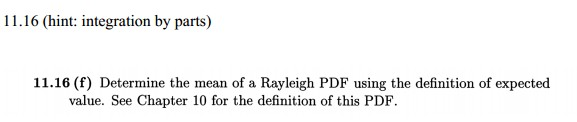 Determine the mean of a Rayleigh PDF using the def