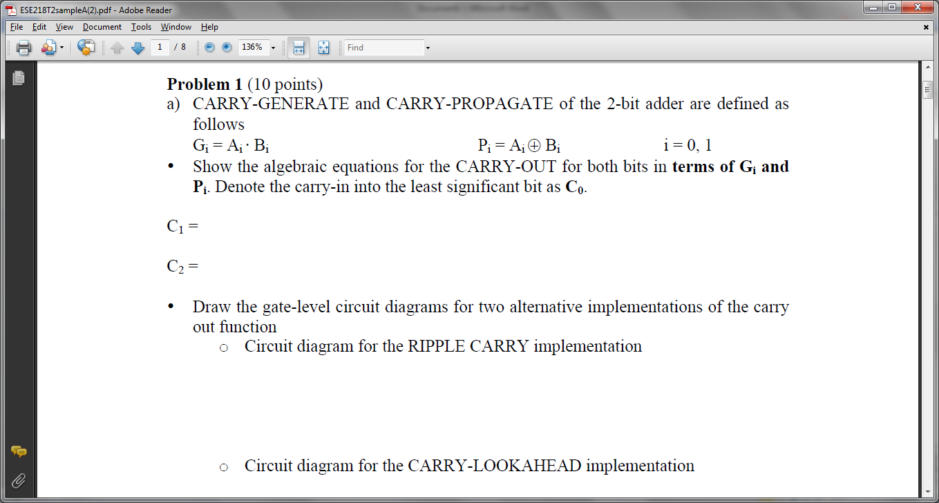 CARRY-GENERATE and CARRY-PROPAGATE of the 2-bit ad