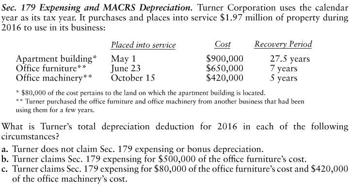 Question: Expensing And MACRS Depreciation. Turner Corporation Uses The  Calendar Year As Its Tax Year. It P.