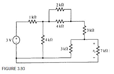 In the circuit of Fig. 3.93 only the voltage ux is