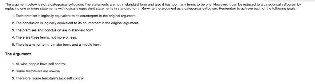 The Argument Below Is Not A Categorical Syllogism Chegg