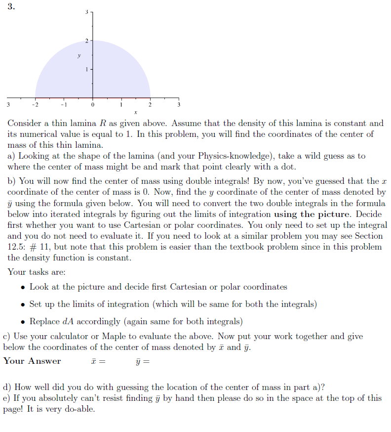 how to find center of mass calculus 3