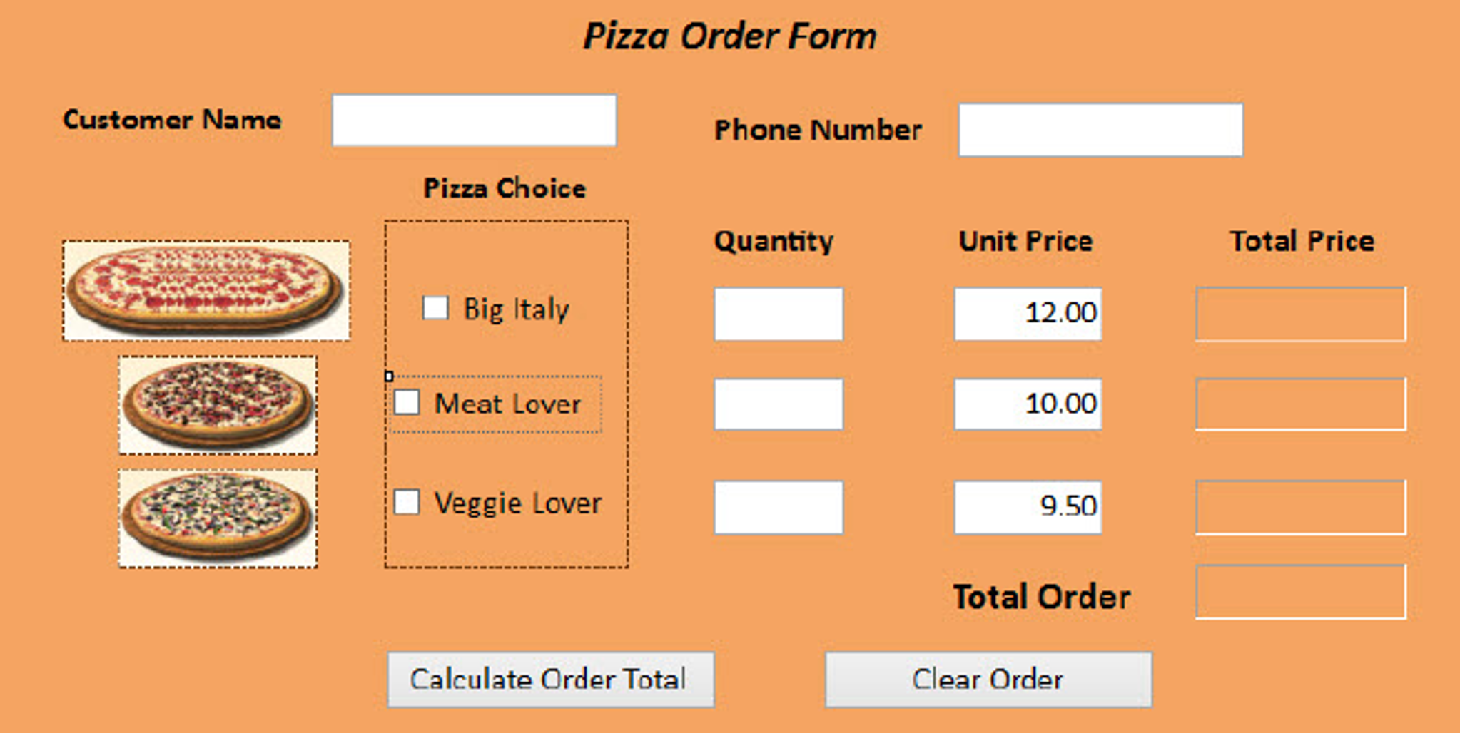 In Javascript, Create A Pizza Order Form. When The... | Chegg.com