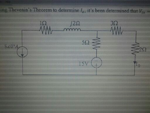 Thevenin's Theorem to determine Io, it's been dete