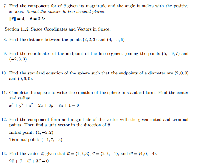 Solved 7 Find The Component For Of Vector V Given Its Ma