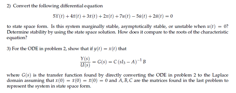 Convert the following differential equation 5 (t