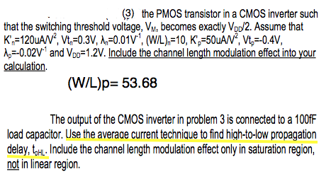 the PMOS transistor in a CMOS inverter such that t