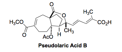 Pseudolaric Acid B, below, is isolated from the ba