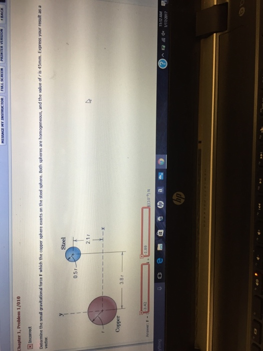 Determine the small gravitational force F which th