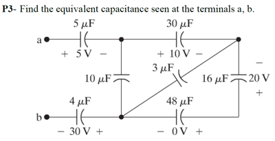 Find the equivalent capacitance seen at the termin